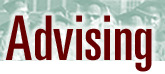 Graphic logo of advising header