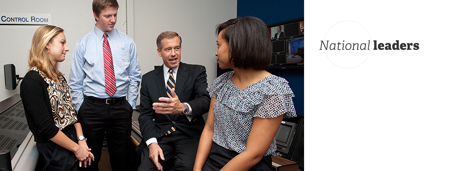 Brian Williams working with students in studio control room