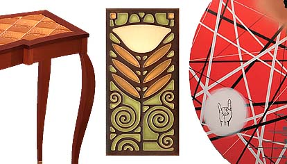"Images left to right: detail of ""Functional Furniture"" by Hopfensperger, Art Tile by Nowal Motawi, detail of panel by Lahr"