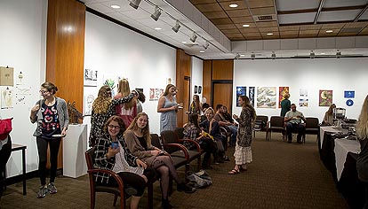 Photo of reception of the 2016 Student Juried Exhibition, Isabella Cannon Room, Center for the Arts, Elon University