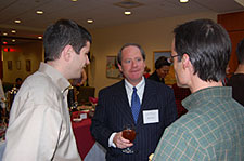 Jon Wall vists with Elon law students during afternoon tea, Nov. 29