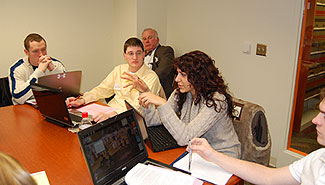 First-year Elon law students take part in the Travis Simulation, Jan. 3