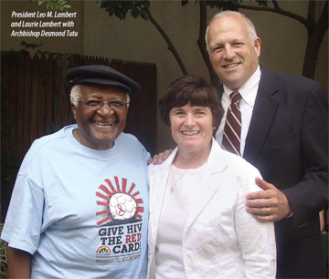 Leo and Laurie Lambert with Desmond Tutu