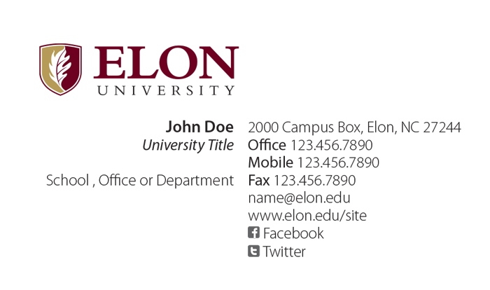 Elon University FacultyStaff Business Cards - Email business card templates