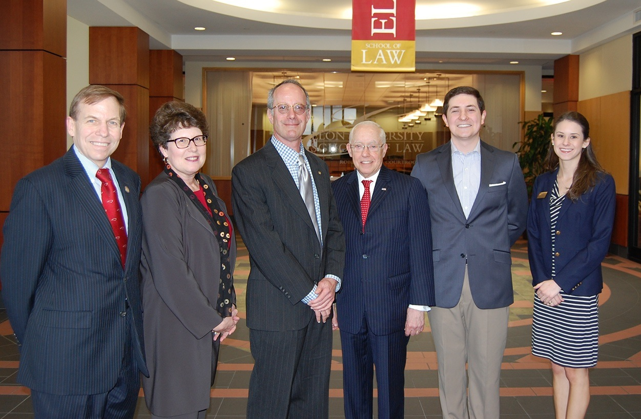 Former U.S. Attorney General Mukasey with Elon Law students and faculty