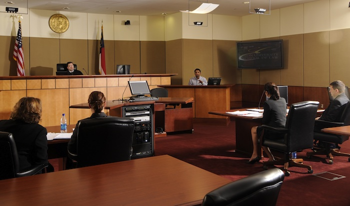 Elon Law students engage in trial practice in the Robert E Long Courtroom of the law school