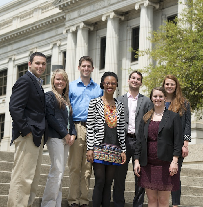 Elon Law students in front of courthouse, downtown Greensboro, NC