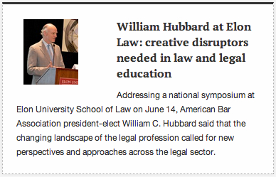 William Hubbard at Elon Law article