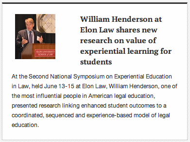 William Henderson at Elon Law article