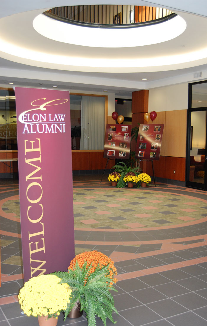 Elon Law alumni welcome banner