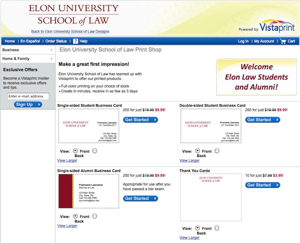 Image of website for Elon Law cards