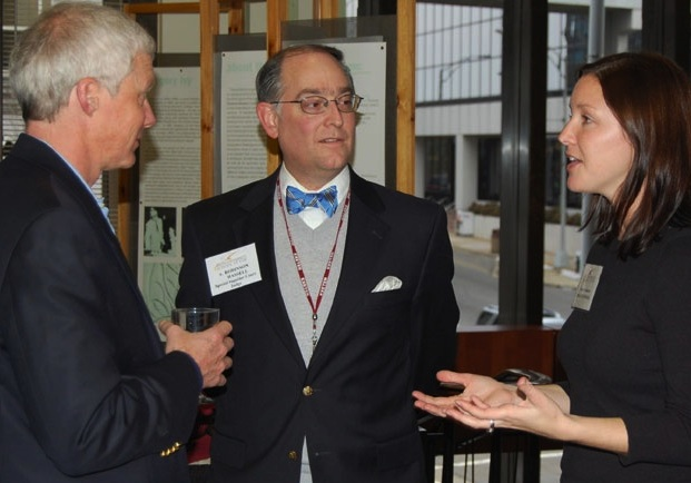 Elon Law student talks with preceptors at monthly reception with the legal community