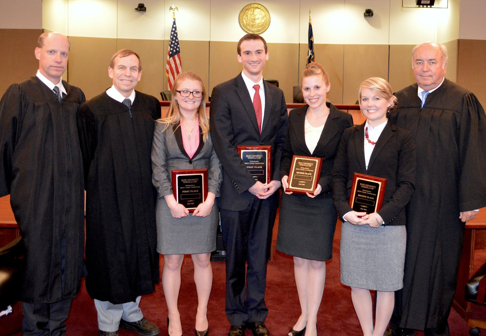 Winning teams of the 2013 Elon Law Intramural Moot Court Competition with final round judges