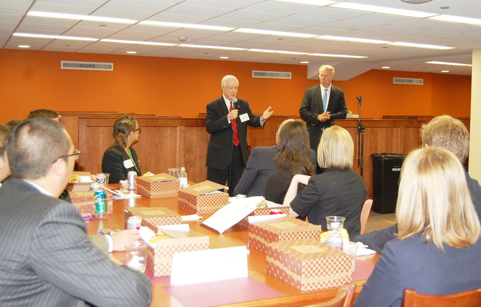 Jim Hunt and David Gergen speak with students at Elon Law 2012