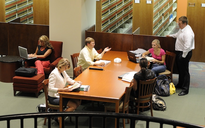 Elon Law students in library