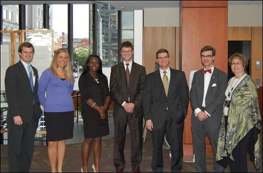 Members of Elon Law's Business Law Association with leading members in the field