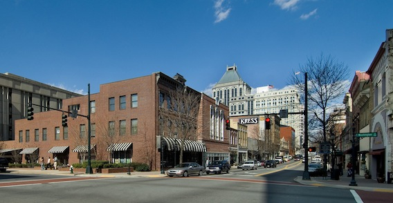 Streetscape of downtown Greensboro