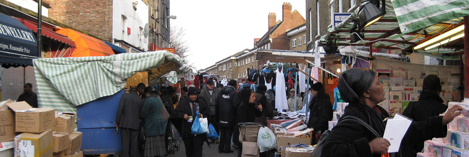 A street market in South London. Photo credit Kim Jones.