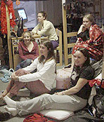Photo of Elon University students in a dorm room.