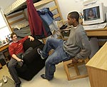 Photo of Elon University male students in thier dorm room.