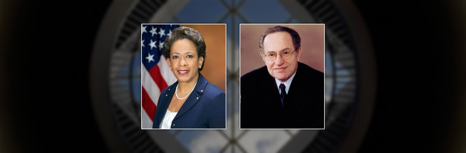 Loretta Lynch and Alan Dershowitz portraits