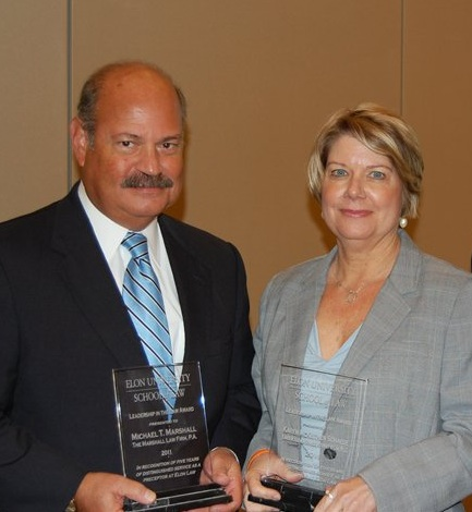 Elon 2011 leadership award recipients Mike Marshall and Karen McKeithen Schaede
