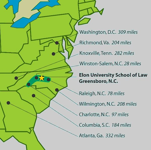 Elon University Elon Law About Elon Law Maps And Directions - Map of the us east coast