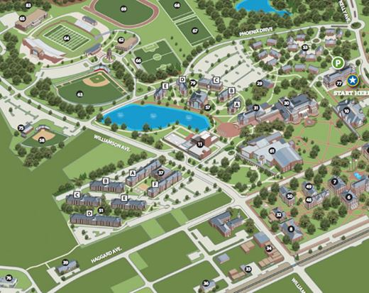 Elon University About Campus Maps - U of a campus map