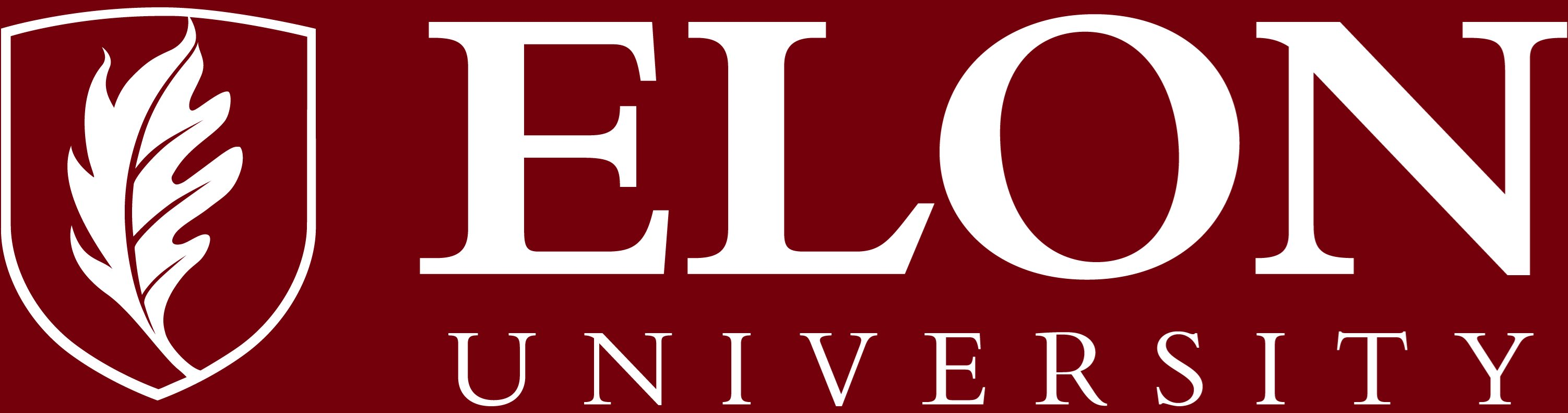 Elon University primary signature one-color reversed example
