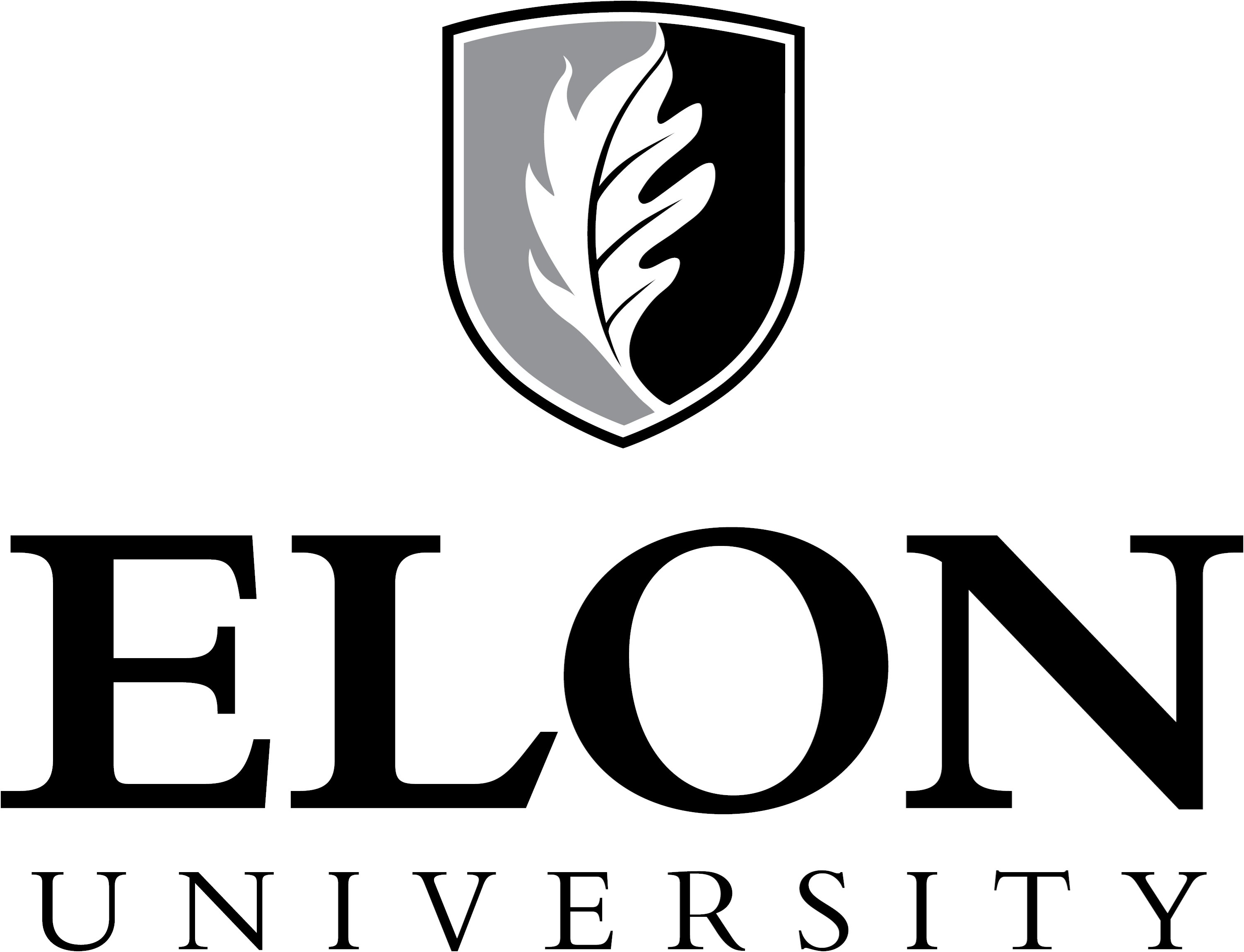 Elon University primary signature centered one-color example