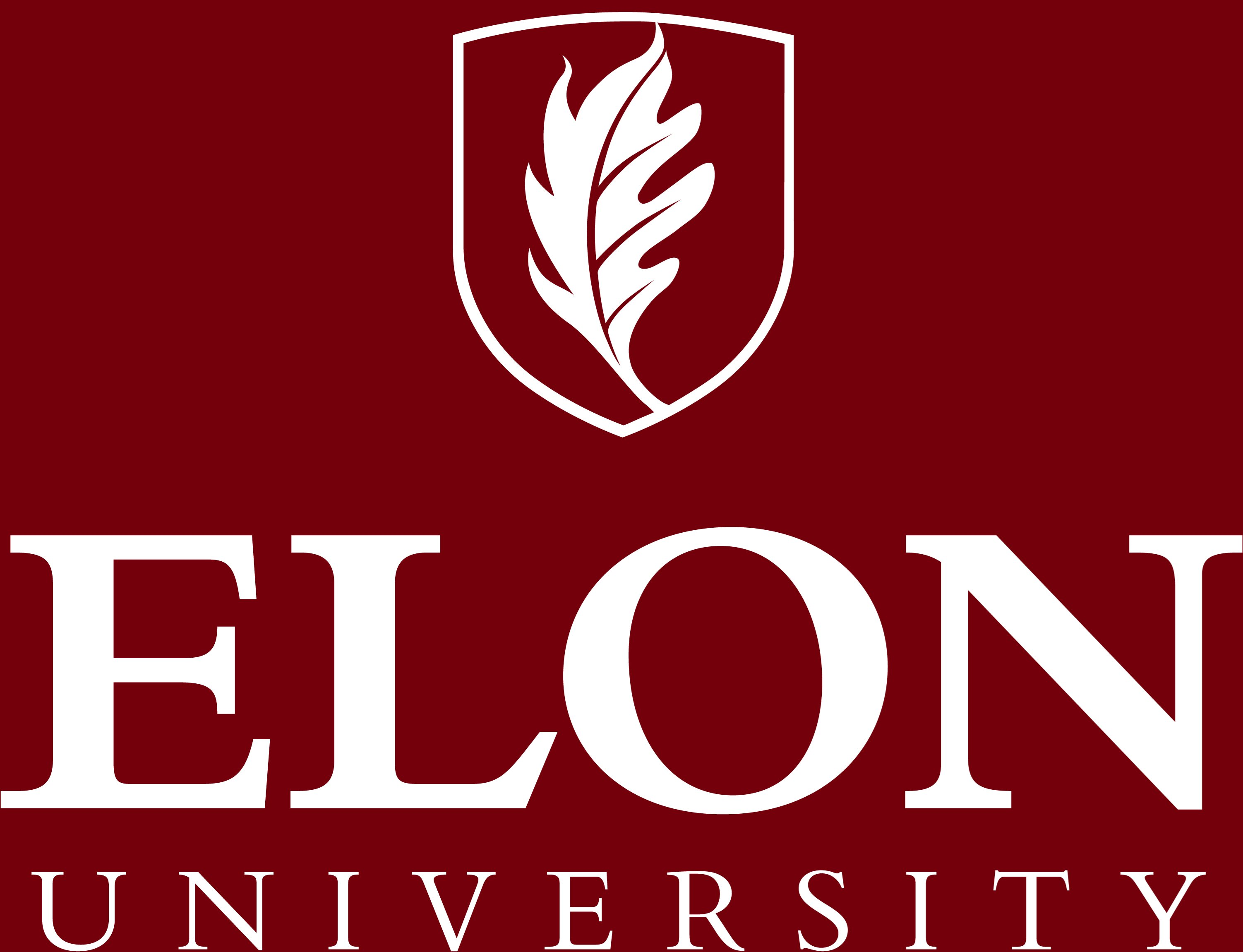 Elon University primary signature centered one-color reversed example