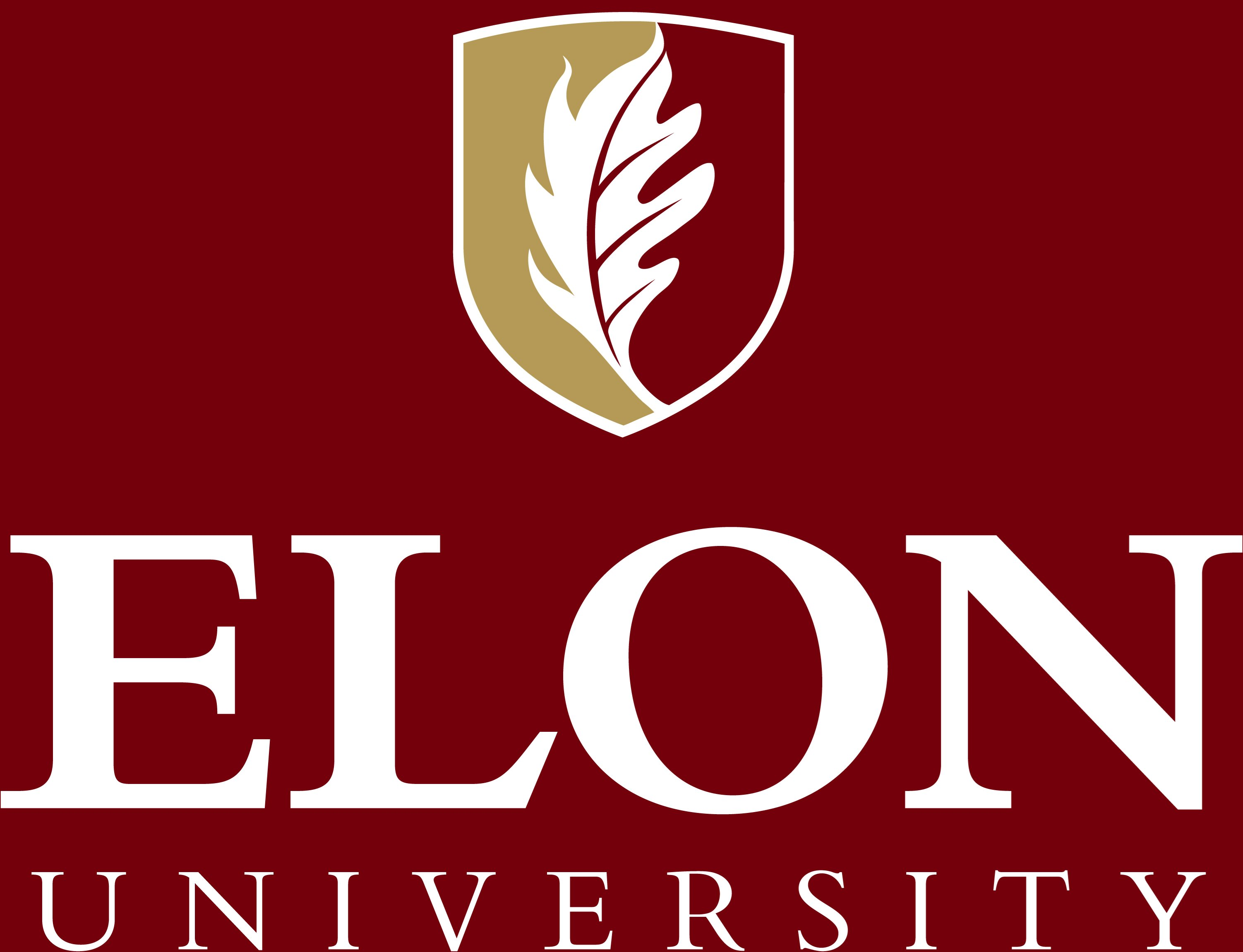 Elon University primary signature centered reversed example