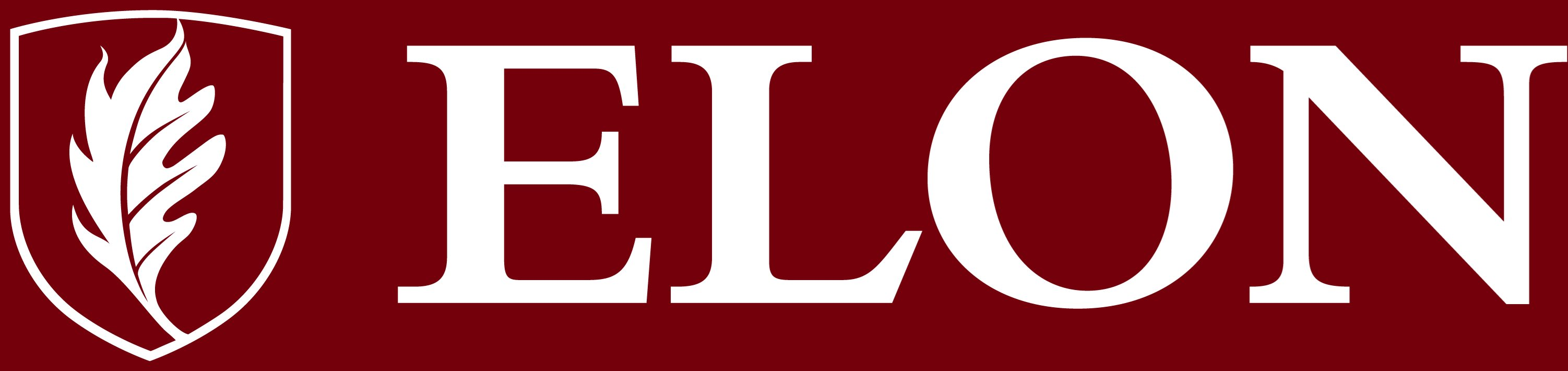 Elon University secondary signature one-color reversed example
