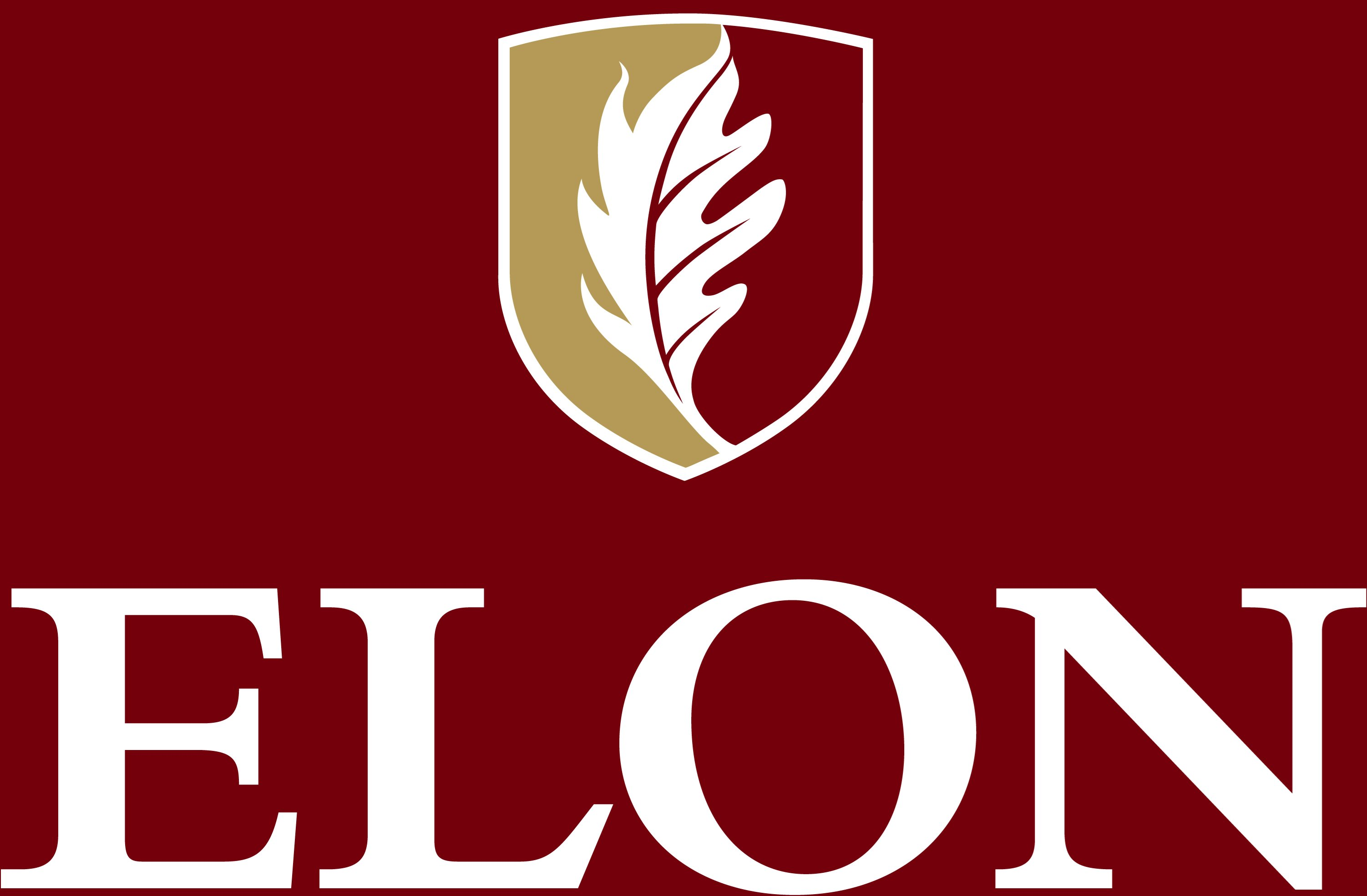 Elon University secondary signature centered reversed example