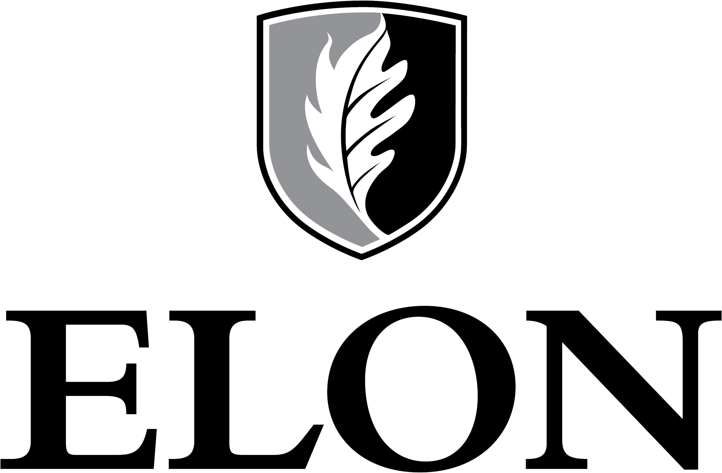Elon University secondary signature centered one-color example