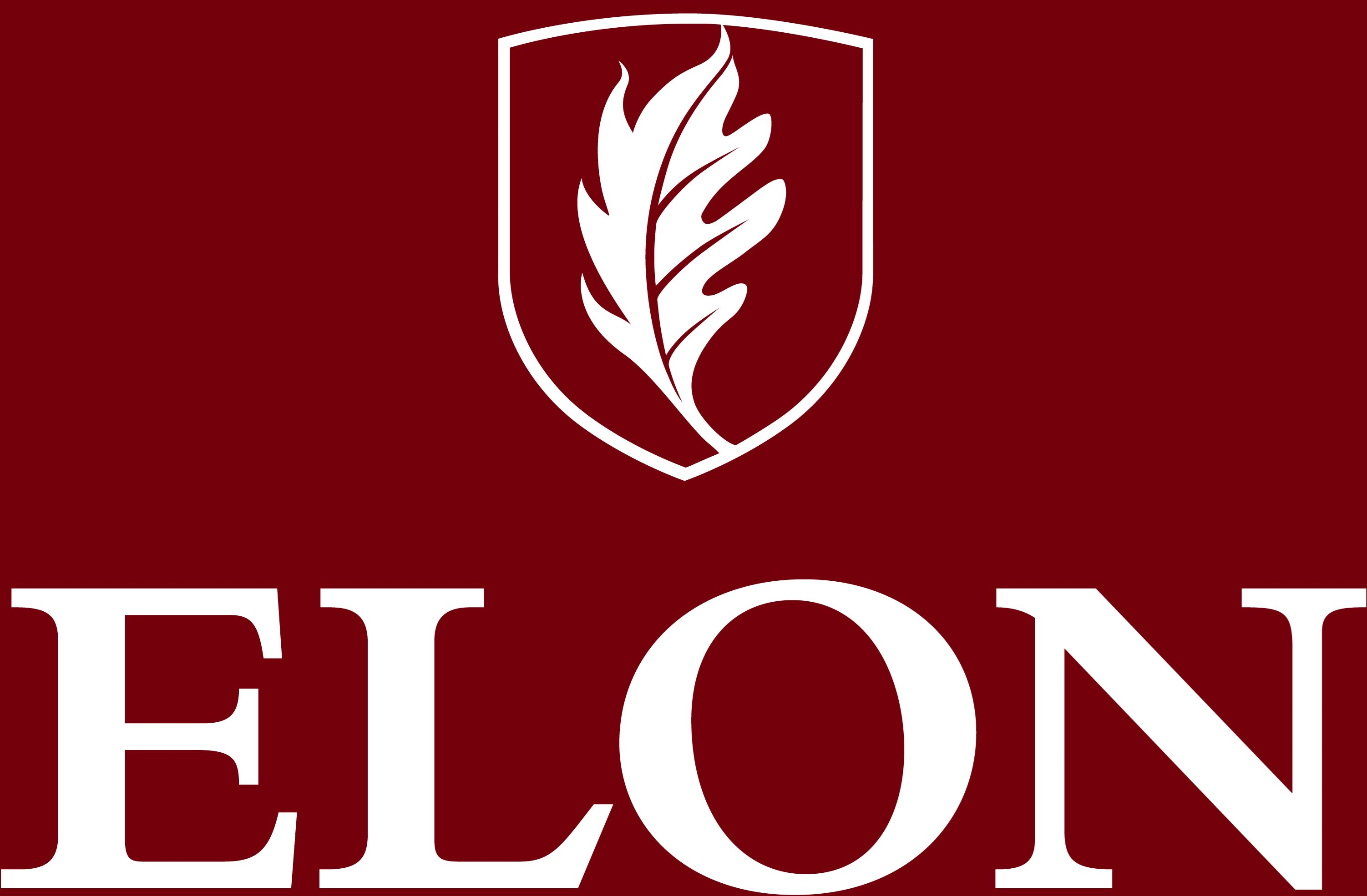 Elon University secondary signature centered one-color reversed example