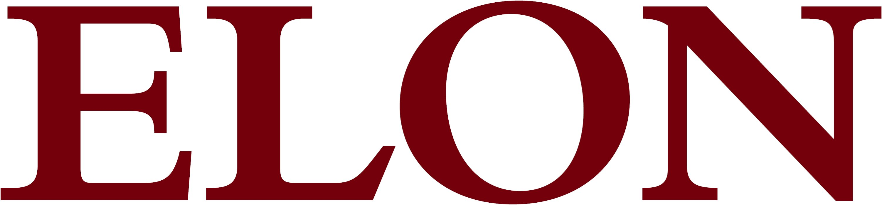 Elon University secondary wordmark maroon example