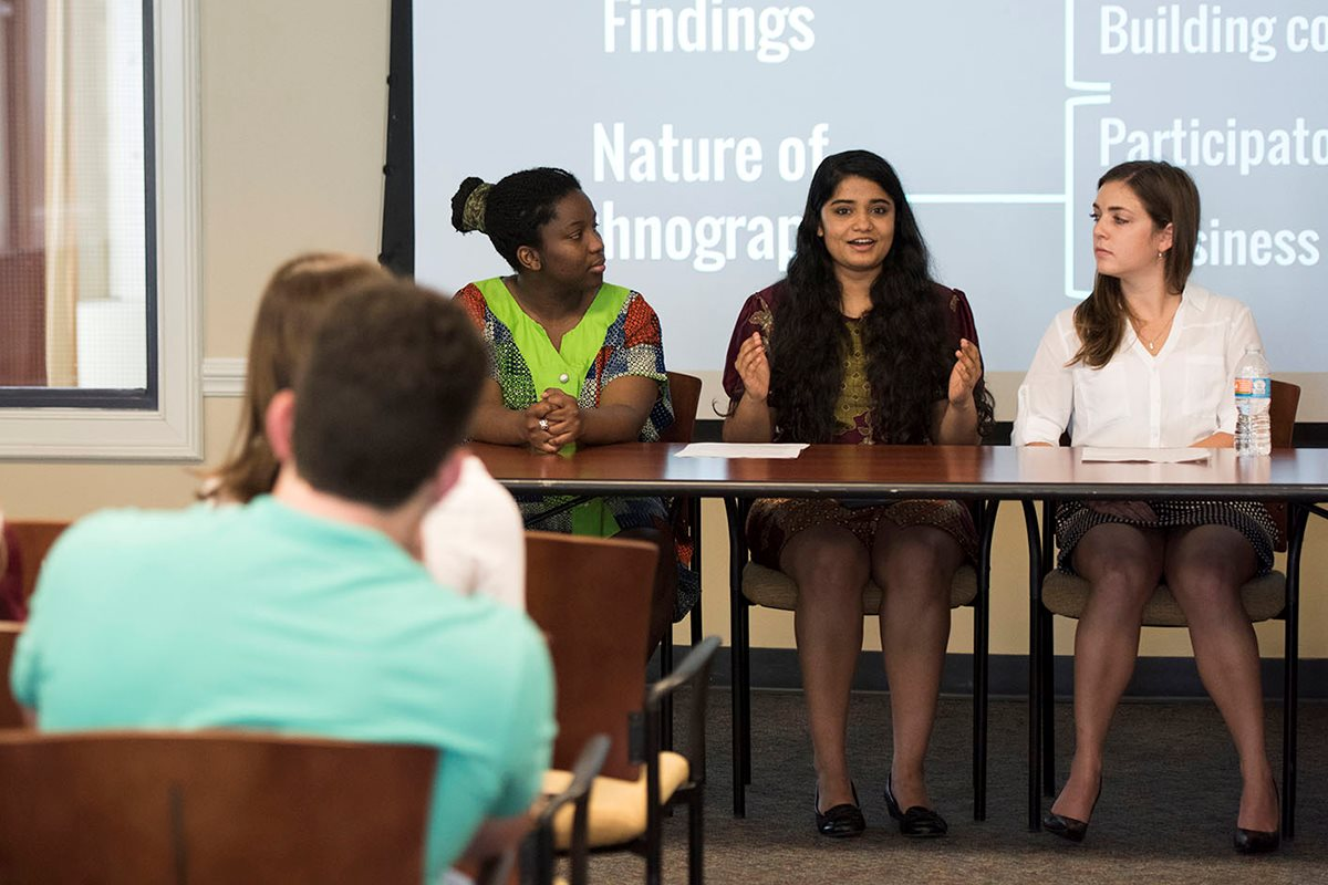 Elon University students and professors share research findings and creative work at the Spring Undergraduate Research Forum.