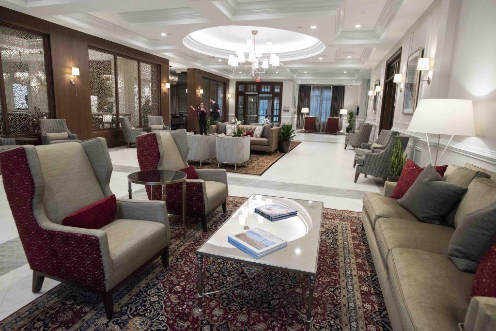 The lobby of the Inn at Elon.